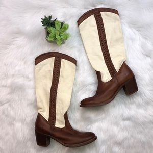 Frye Sz 8.5 leather and canvas boots